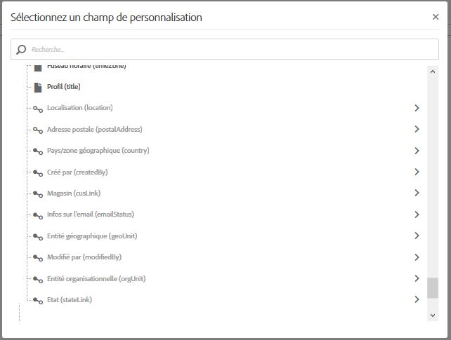 Champs de personnalisation à intégrer dans un email