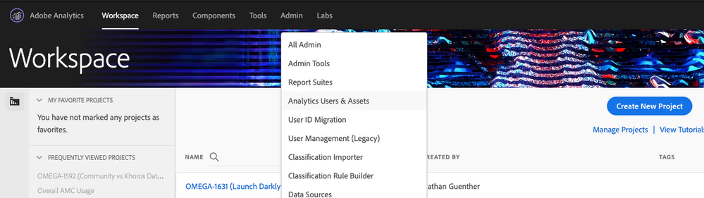 "Go to ""Analytics Users & Assets"" from the ""Admin"" dropdown"