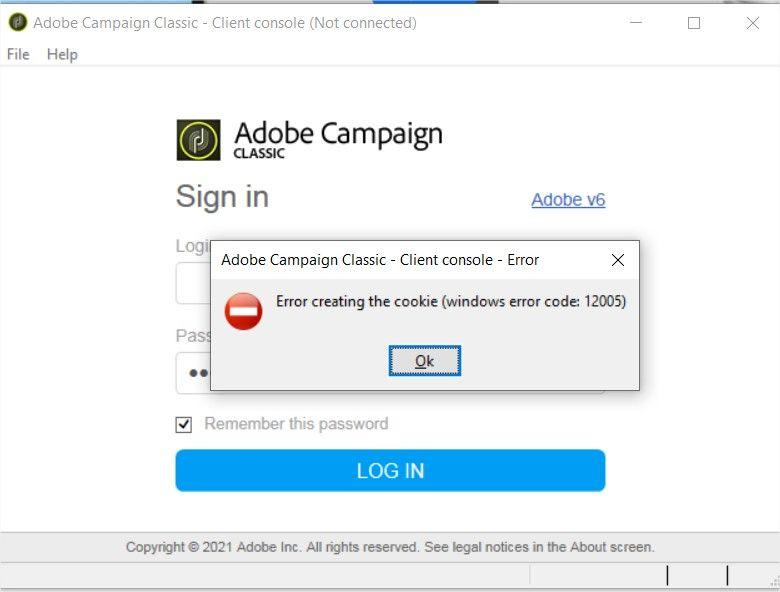 Adobe Campaign Classic - Client console - Error.jpg