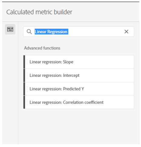 Figure 4: Calculated metric builder in Analytics Workspace
